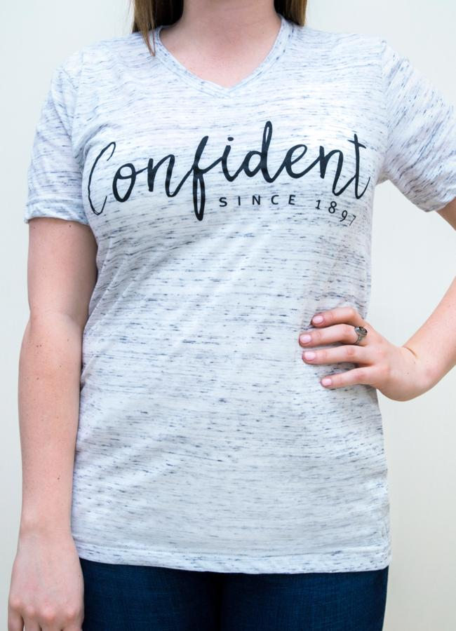 Apparel,Short Sleeves - Confident White Marble V-neck