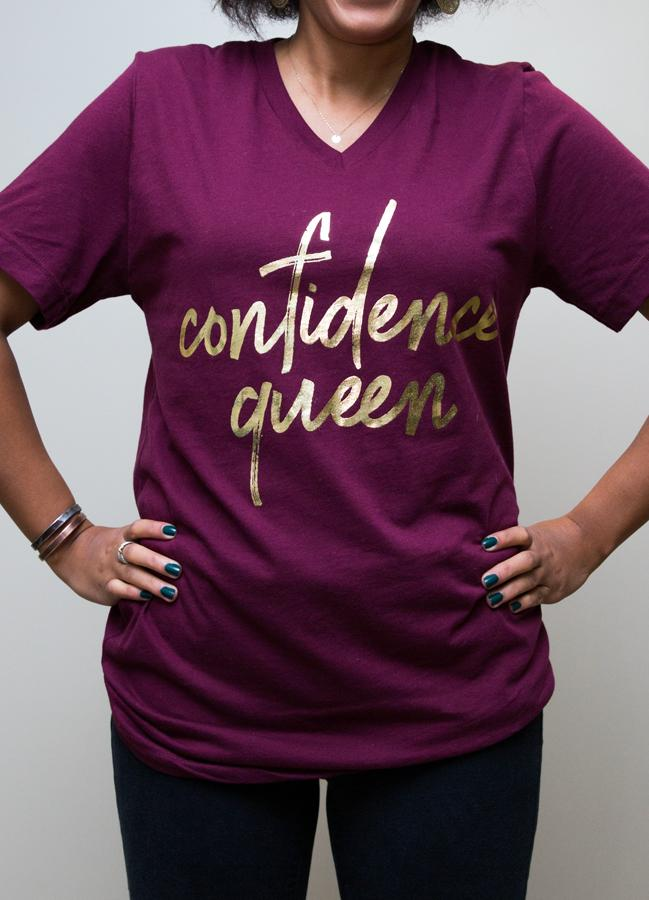 Apparel,Short Sleeves - Maroon Confidence Queen V-neck