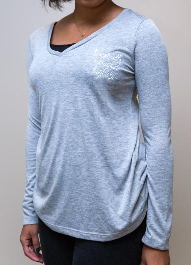 Apparel,Long Sleeves - Embroidered Long Sleeve V-neck